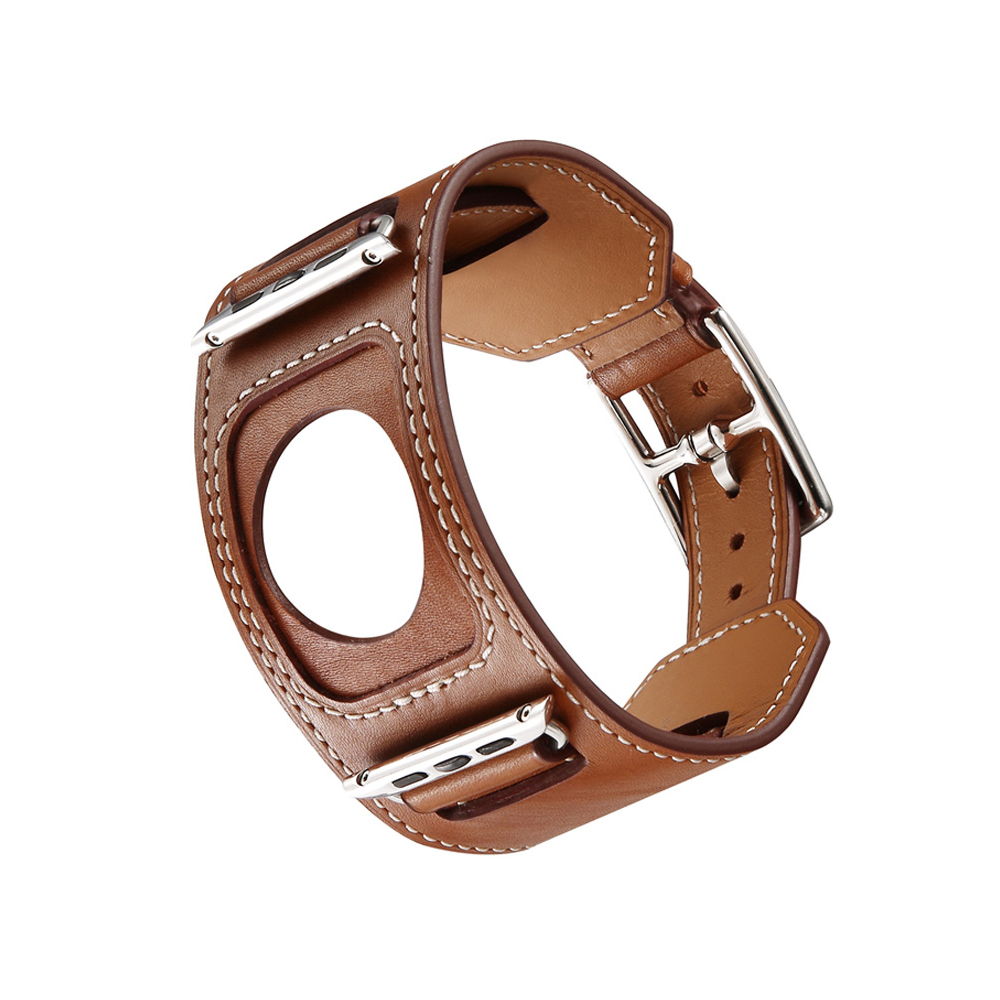 Genuine Leather Cuff Bracelet Strap For Apple Watch Hermes 4 44mm 40mm Iwatch Band 4 Wrist Watchband Metal Classic Buckle