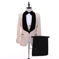 New Style Champagne jacquard Shawl Lapel Groom Tuxedos Prom Suits With Black Pants Wedding Best Man Blazer (Jacket+Pants+Vest)8