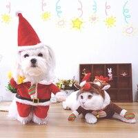 Schattige Hond Kat Kostuums X'mas Kerstman/Elanden Cosplay Pak Pet Halloween Kerst Kleding Voor Puppy Honden Kostuum voor een kat