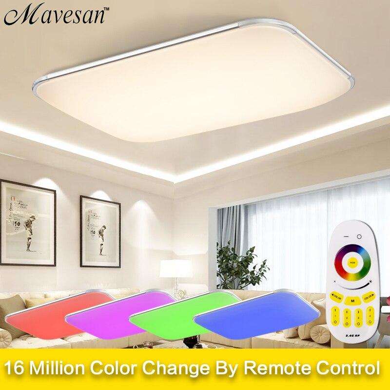 Современные светодио дный светодиодные потолочные светильники для гостиной квадратные люстры plafoniсветодио дный Era LED диммер RGB потолочные с...