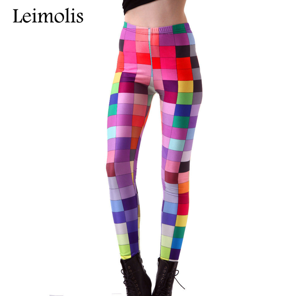 Leimolis 3D Printed Fitness Push Up Workout Leggings Women Gothic Pop Art Plaid Mosaic Plus Size High Waist Punk Rock Pants