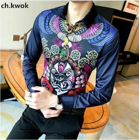 CH KWOK impresiones camisas Hip Hop hombres Formal nueva Camisa barroca manga larga 5XL azul blanco negro Camisa Social Masculina Floral camisa