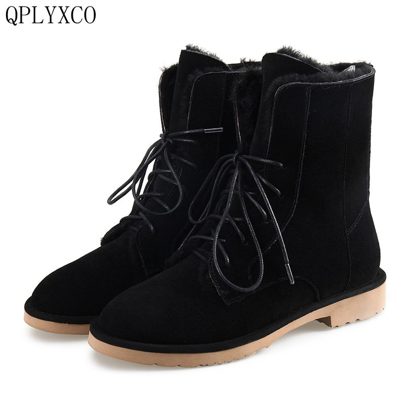 QPLYXCO 2017 New Genuine Leather short boots For Women Casual  Fashion Warm Winter Shoes snow boots 34-43 size A089