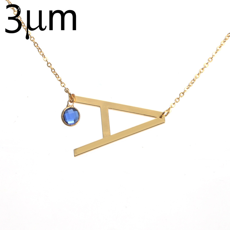 3um large initial necklace sideways gold initial necklace personalized birthstone letter alphabet necklace long chain necklace