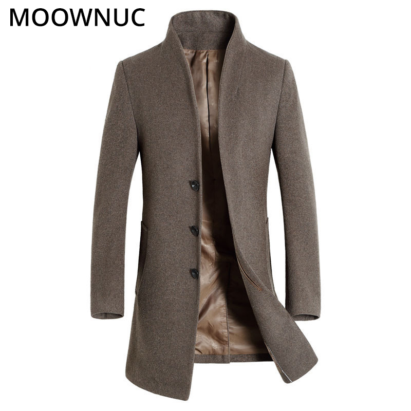 Woollen Men's Coat Slim Fit Male New 2019 Thick Business Casual Autumn Winter Overcoat Fashion Blends Brand Clothing MOOWNUC MWC