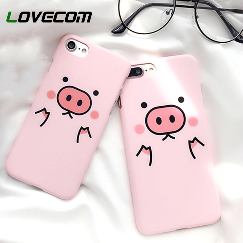 LOVECOM For iPhone 5 5S SE 7 8 6 6S Plus X Cute Cartoon Funny Pink Pig Back Cover Frosted PC Hard Phone Back Cover Case