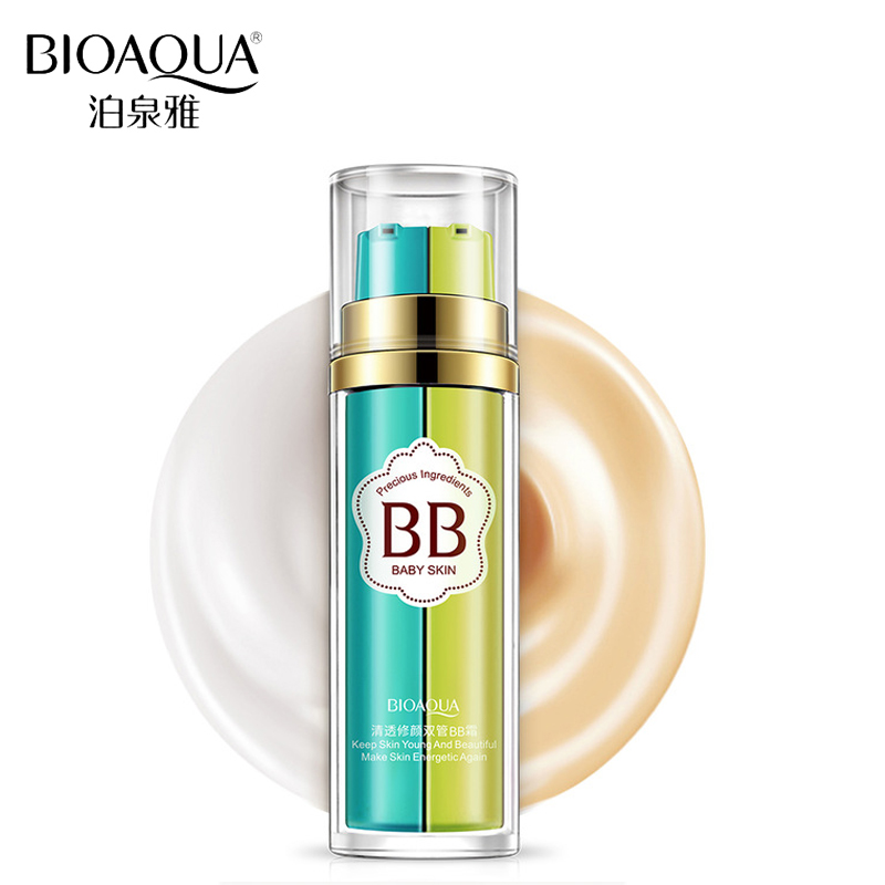 BIOAQUA Brand Double Color BB Cream Liquid Foundation Makeup Fuktgivare Concealer Base Primer Make Up Corrector Naken Kosmetika