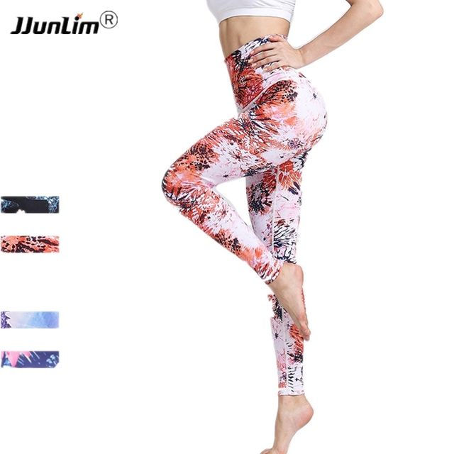 fa4cac254f Women Yoga Pants High Waist Floral Printed Leggings Elastic Sport Pants  Fitness Gym Workout Running Female Tight Sport Trousers