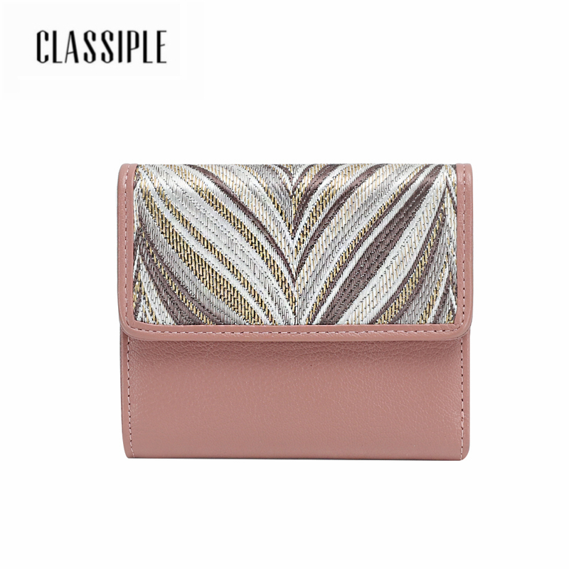 Female Short Wallet For Women Genuine Leather Pink Embroidery Fashion Lady Mini Card Holder Wallet Female Credit Card Coin Purse fashion cartoon cute mini women wallet female short money purse girl coin credit card holder ladies leather wallet change purse