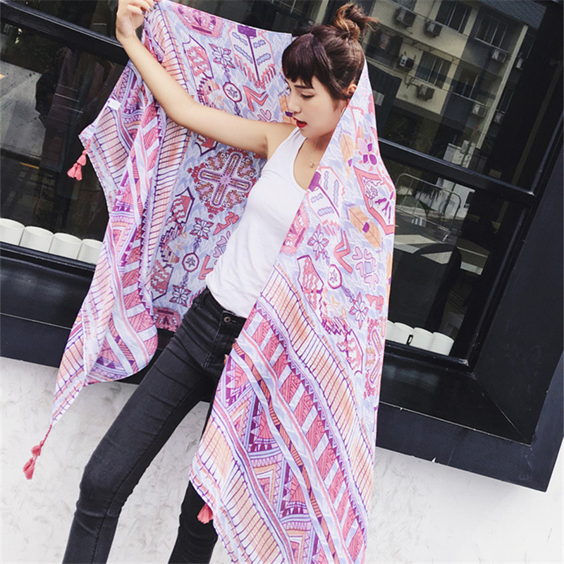 2019 Fashion New 180 100cm Large Size Summer Pashmina Scarf Vintage Ethnic Style Cotton and Hemp Shawls Beach Scarves Towles in Women 39 s Scarves from Apparel Accessories