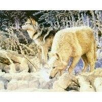 หิมะหมาป่าสัตว์รูปภาพโดยตัวเลขตกแต่งบ้านผนังรูปภาพDIYดิจิตอลสีวาดภาพวาดสีน้ำมันบนผืนผ้า...