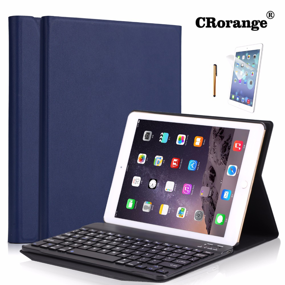 CR Portable Leather Case For New iPad 2017 9.7 inch Cover Wireless Aluminum Alloy Bluetooth Keyboard for iPad 9.7 inch 2018