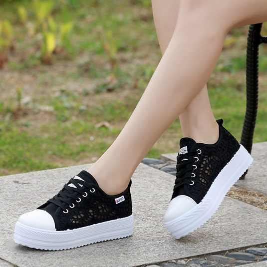 Kadın ayakkabı 2019 moda yaz rahat bayan ayakkabıları kesikler lace tuval içi boş nefes platformu düz ayakkabı kadın sneakers35-42