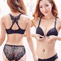 Avant fermé papillon beauté dos Push Up brassière Sexy soutien-gorge à armatures pour femmes sous-vêtements couleur unie femme Lingerie