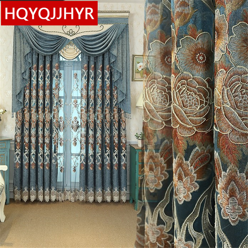 Luxury Continental Embroidered Villa Curtain For Living Room Window Classic Royal High-end Custom Curtains For Bedroom/Kitchen