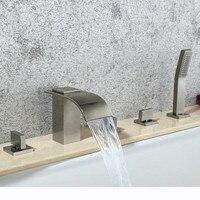 Бесплатная доставка Современный 5 шт. Матовый никель бортике площадь Водопад ванной ванна кран ручной комплект латунь