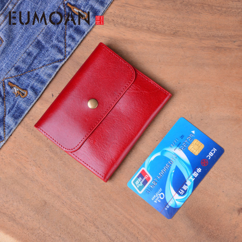 EUMOAN Genuine Leather Wallet Women Vintage Handmade Female Short Small Wallets Coin Purse Card Holder Case