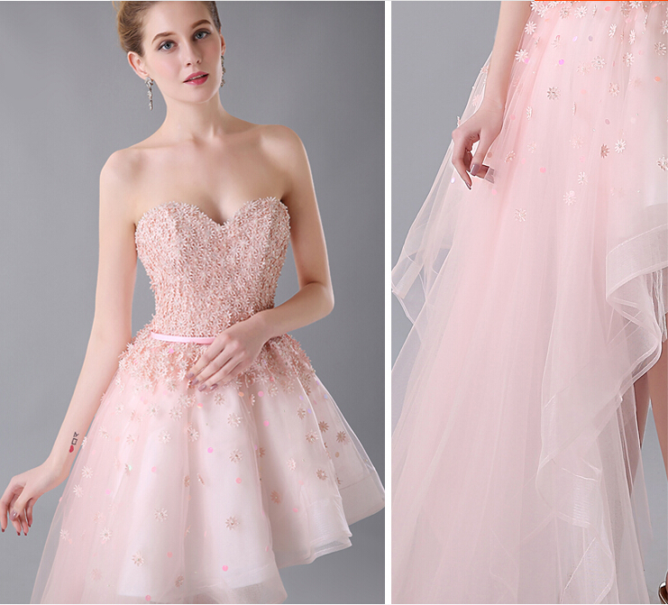 a22fad588c Asymmetrical Pink Homecoming Dress Appliques Long Short Side Tulle Teens  Graduation Dress Semi Formal-in Homecoming Dresses from Weddings   Events  on ...