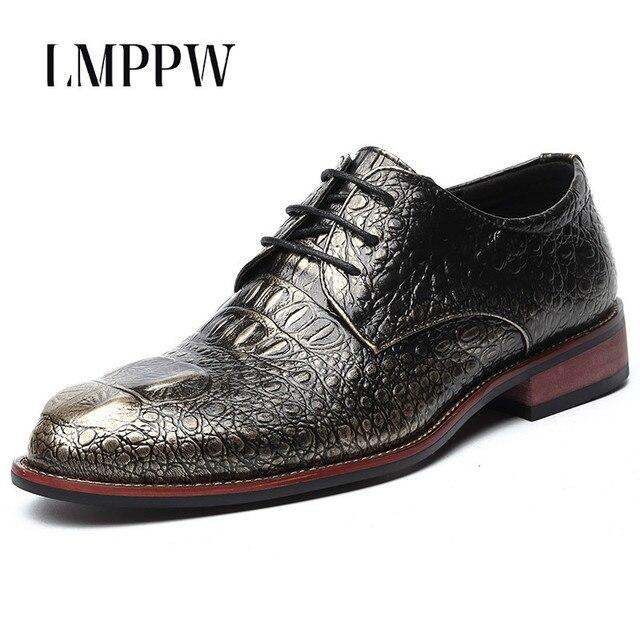 8ccd3f0a8 Novo 2018 Couro De Crocodilo Sapatos Masculinos Da Moda Respirável Sapatos  Oxfords Preto Ouro Vermelho Lace