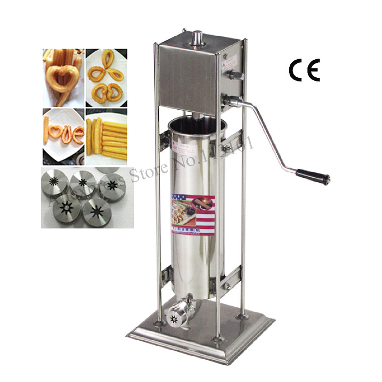 Deluxe stainless steel Commercial Use 7 Liters Manual Spanish Churros Machine hand-operated Churros Maker Capacity 7 Liters commercial deluxe stainless steel 3l churro maker 6l electric fryer manual spanish churros making machine capacity 3l