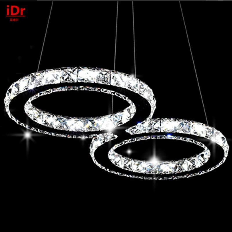 Modern Minimalist Bedrooms LED Bedroom Lamp Hall Crystal Chandelier Lamp  Creative Stainless Steel Staircase Restaurants(