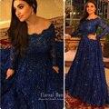 vestido longo de festa i Musulmana de Manga Larga de Encaje Vestidos de Noche Formal del Azul Real Vestidos de Noche