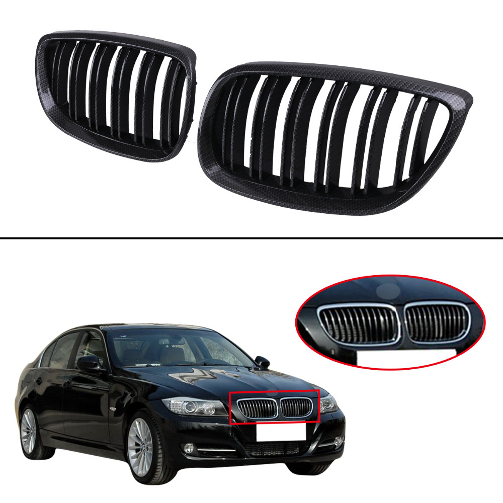 Carbon Black Dual Line Front Kidney Grille Grill For BMW E92 Coupe 2 Door E93 Convertible 3 Series M3 2007 2008 2009 2010