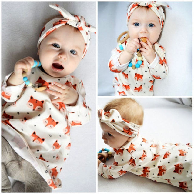 Baby girl clothes long sleeve fox printed dress+headband kids 2pcs ...