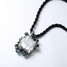 303e9cdb39ad 925 plata esterlina 30mm gran perla colgante Plata Perla Barroca natural  Topacio turmalina colgante para mujeres Topaz joyería e.