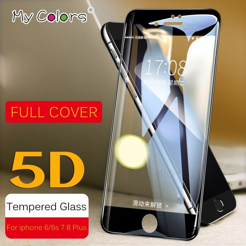 MY COLORS 5D изогнутый край защитный закаленное Стекло для iPhone 6 7 8 Стекло 9H твердость стекло на айфон 6 6s 7 8 плюс экран Full Cover