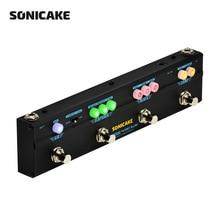 Sonicake Gitar Efektleri Pedal Twiggy Blues Birleştirin Sahne 4 in 1 Çok Etkileri Kompresör Overdrive Gecikme Reverb Pedal QCE-20