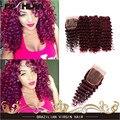 Бразильский 99J Человеческие Волосы Ткет 100% Человеческих Волос Глубокая Волна глубоко Вьющиеся Рыжие Волосы 3 Пучки 7А Бордовый Волосы С Закрытием