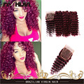 Brazilian 99J Human Hair Weaves 100% Human Hair Extensions Deep Wave Deep Curly Red Hair 3 Bundles 7A Burgundy Hair With Closure