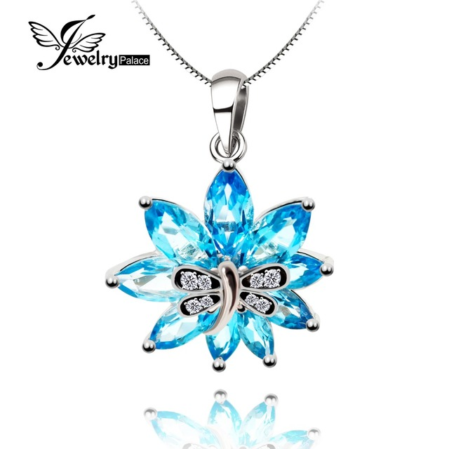 Attractive Swis Blue Topaz Flower Gemstone Pendant 100% Real 925 Sterling Silver Wedding Charm Gift Fashion Bijouterie For Lover