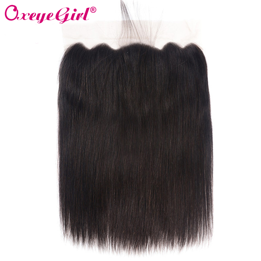 13x6 Lace Frontal Closure With Baby Hair Ear To Ear Lace Front  Brazilian Hair Straight Hair Bundles Remy Human Hair Oxeye girl-in Closures from Hair Extensions & Wigs    2