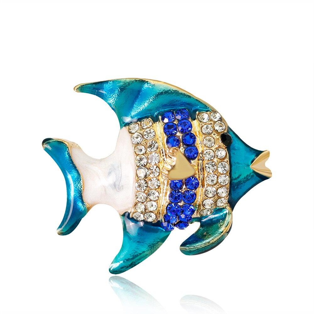 Epoxy Tropical Fish Rhinestone Brooch Animal Boutonniere Pin