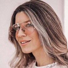 PAWXFB Brand Summer Pink Square Rimless Sunglasses Unisex Retro Alloy Celebrity Sun Glasses Vintage Occhiali da sole Shades