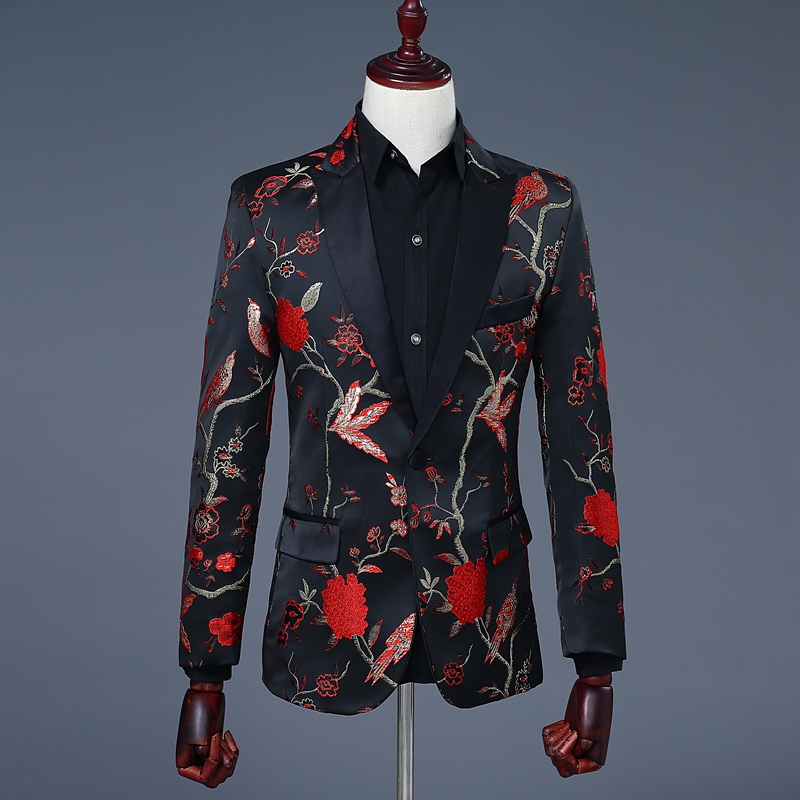Black and Red Vintage Mens Print Blazer Elegant Mens ...