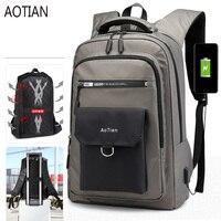AOTIAN 2019 New man 15.6 inch laptop backpack usb charging Men backpacks large male business travel bag Nylon backpack Schoolbag