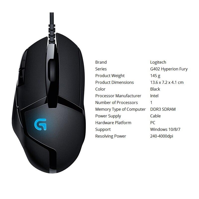 Logitech 100% original Mouse G403/G502/MX518/G402/G302/G102/G300s wired  Gaming Mouse Support Desktop/ Laptop Windows 10/8/7