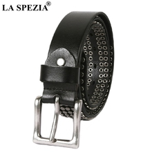 LA SPEZIA Black Belt Men Rivet Genuine Leather Pin Buckle Belt Male High Quality Real Cow Leather Rock Square Belt For Jeans цена и фото