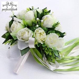 Image 5 - باقة الزفاف من perfectlifeoh Ramos de novia بوكيه من الورود البيضاء باقة زهور الزفاف الرومانسية من الحرير للعرائس