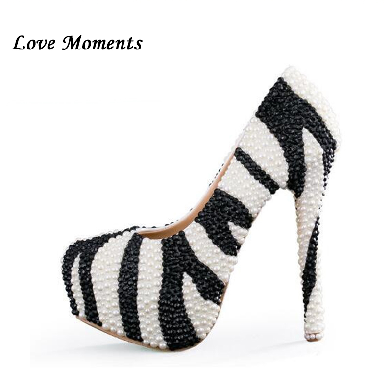 Love Momnets New arrival Black White Pearl handmade Beaded wedding Party shoes Fashion Pumps big size