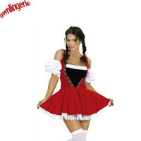 Free Shipping Red Oktoberfest Beer Maid Peasant Dress Costume German Wench Hen Party Fancy Dress Cosplay
