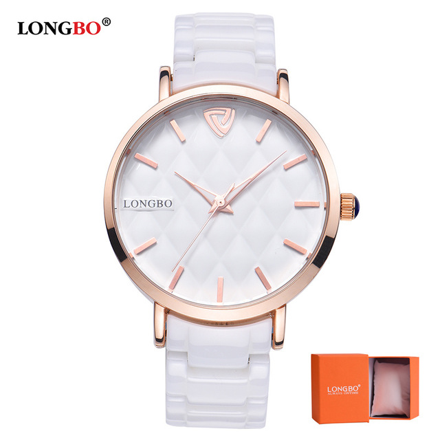 2017 LONGBO Luxury Brand Fashion Quartz Ceramic White Gold Strap Women Wrist Watch Ladies Hot Sale Hodinky Clock Reloj Mujer longbo luxury brand fashion quartz watch blue leather strap women wrist watches famous female hodinky clock reloj mujer gift
