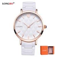 2017 LONGBO Luxury Brand Fashion Quartz Ceramic White Gold Strap Women Wrist Watch Ladies Hot Sale