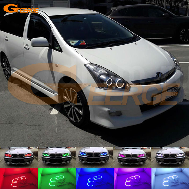 For TOYOTA WISH 2005 2006 2007 2008 2009 Excellent Angel Eyes kit Multi-Color Ultra bright RGB LED Angel Eyes Halo Rings super bright led angel eyes for bmw x5 2000 to 2006 color shift headlight halo angel demon eyes rings kit