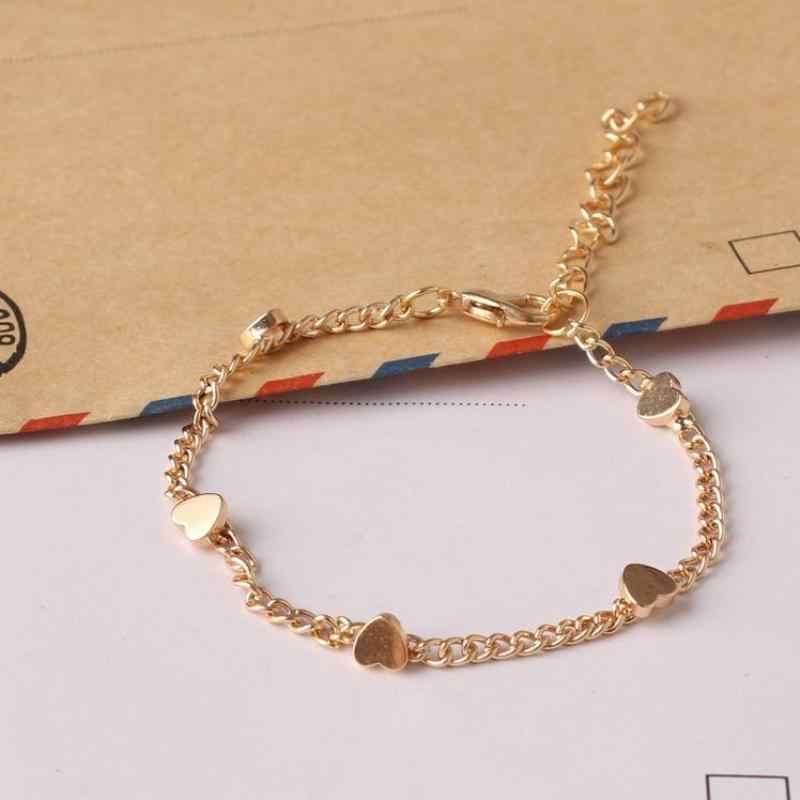 Koreańska wersja małej świeżej mody damskiej złota pięcioramienna gwiazda i brzoskwinia bransoletka z serduszkiem damska hurtownia biżuterii