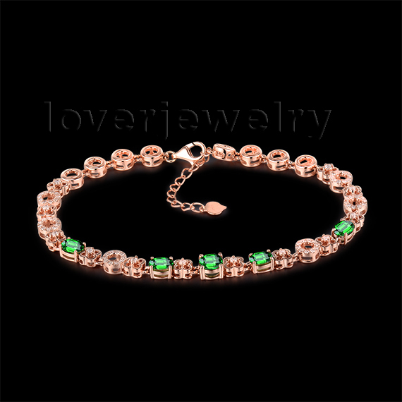 2.03Ct Natural Tsavorite & Diamond Cluster Bracelet Oval 4x6mm and Round 5mm 18K Rose Gold NA0034