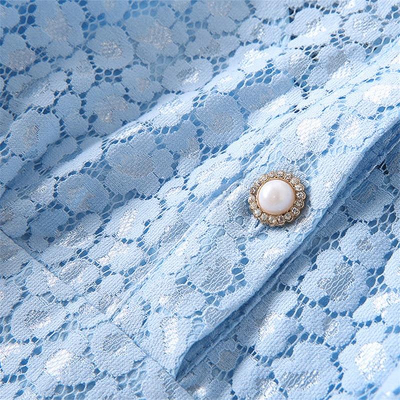 Nouvelles Turn Haute Perle Manches Bouton De down Robe Eoge 2018 Élégant Courtes Qualité Collar Femmes D'été Charme Mode wS6q6Xx8d